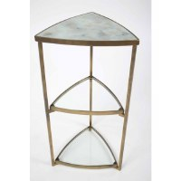 "14"" 3 Tier Triangle Accent Table In Antique Brass With Glass Tops"
