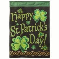 "42"" x 29"" Happy St. Patrick's Day On Black Burlap Garden Flag"