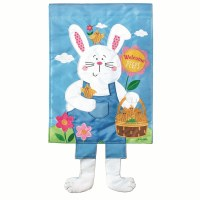 "18"" x 13"" Mini Bunny With Dangle Legs Garden Flag"