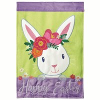 "42"" x 29"" Happy Easter White Bunny Garden Flag"