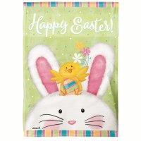 "18"" x 13"" Mini Happy Easter Bunny and Chick Garden Flag"