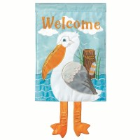 "18"" x 13"" Mini Welcome Pelican With Dangle Legs Garden Flag"