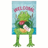 "18"" x 13"" Mini Welcome Frog With Dangle Legs Garden Flag"