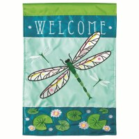"42"" x 29"" Welcome Dragonfly Garden Flag"