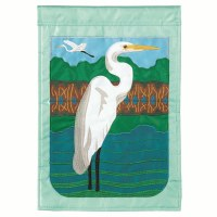 "42"" x 29"" White Egret Garden Flag"