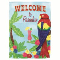 "18"" x 13"" Mini Welcome To Paradise Parrot Garden Flag"