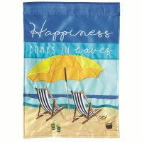 "42"" x 29"" Happiness Comes In Waves Beach Scene Garden Flag"