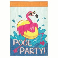 "18"" x 13"" Mini Pool Party Flamingo Garden Flag"