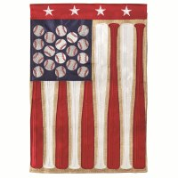 "18"" x 13"" Mini Baseball and Bat American Flag Garden Flag"