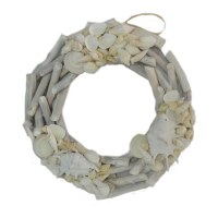 "16"" White Driftwood With Shells Wreath"