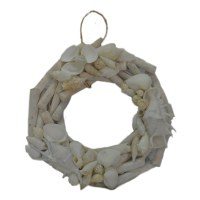 "10"" White Driftwood With Shells Wreath"