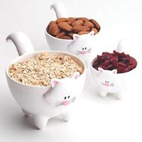 Set of 3 Joie White Meow Measuring Cups