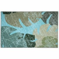 """1' 8"""" x 2' 6"""" Faded Tropical Leaves Rug"""