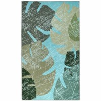 3' x 5' Faded Tropical Leaves Rug