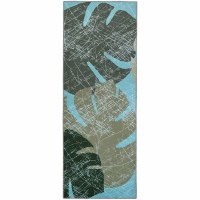 1.9' x 4.6' Faded Tropical Leaves Rug