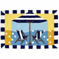 "20"" x 30"" Stripe Umbrella and Chairs Rug"