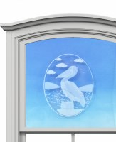 """5"""" Oval Pelican White Window Cling"""
