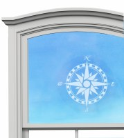 "5"" Circle Compass White Window Cling"