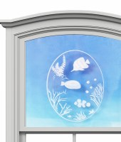 "5"" Oval Fish Scene White Window Cling"