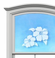 "5"" Oval Hibiscus White Window Cling"