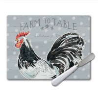 """8"""" x 10"""" Rooster Glass Cutting Board With Spreader"""