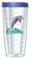 16 Oz Dolphin Tall Tumbler With Blue Lid