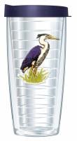 16 Oz Heron Tall Tumbler With Navy Lid