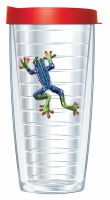 16 Oz Turquoise Frog Tall Tumbler With Red Lid