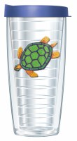 16 Oz Green Turtle Tall Tumbler With Blue Lid