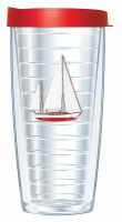 16 Oz Sailboat Tall Tumbler With Red Lid