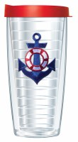16 Oz Blue Anchor Tall Tumbler With Red Lid