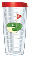 16 Oz 19 Hole Tall Tumbler With Red Lid