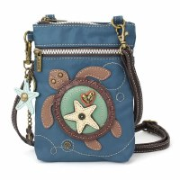 """8"""" Chala Turquoise Turtle Cell Phone Crossbody Bag"""