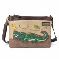 "8"" Chala Taupe Gator Mini Cross Body Bag"
