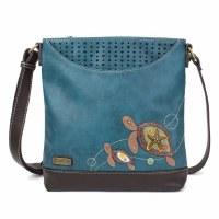 "11"" Chala Turquoise 2 Turtle Messenger Bag"