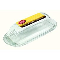 """7"""" Clear Glass Butter Dish"""