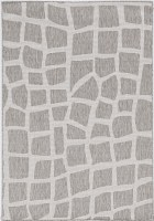 2.7' x 3.11' Ivory and Gray Bedrock Provo Rug