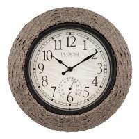 "13"" Round Rattan Finish Indoor/Outdoor Clock"