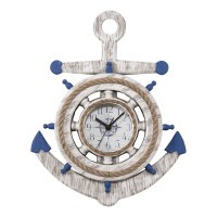 "14"" Round Blue and White Anchor Wall Clock"