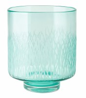 "10"" Green Etched Glass Hurricane"