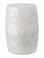 "13"" Round White Flower Stool"