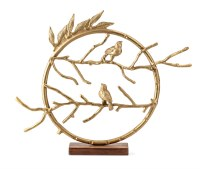 "23"" Gold 2 Birds On Branch Ring Sculpture"