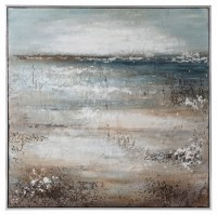 "48"" Square Blue Horizon Framed Canvas"