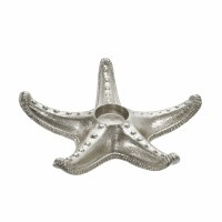 "9"" Silver Starfish Tea Light Metal Holder"