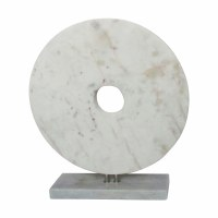"8"" White Marble Disk Sculpture With Base"