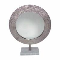 """21"""" Silver Round Mirror On Stand"""