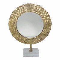 "19"" Gold Round Mirror With Marble Base"
