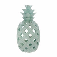 "16"" Green Ceramic Openwork Pineapple"