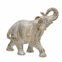 """11"""" Gold and White Pattern Polystone Elephant"""