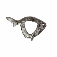 """17"""" Silver Fish With Open Center Metal Plaque"""